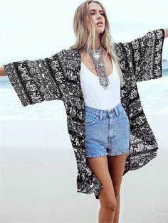 Dark Blue Tribe Pattern 3/4 Sleeve Loose Kimono