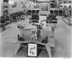 Naturalizer shoe display at Lloyd-Friesen, Inc. on and Broadway was photographed for Family Circle magazine on September 1954