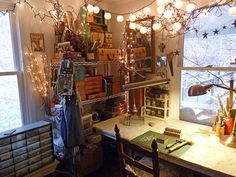 Inside the studio of Nina Bagley. This photo inspires me to improve my own studio.