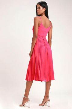 Trust us, the Lulus Take it From Me Fuchsia Pleated Wrap Midi Dress will be your new party go-to! Breezy woven poly sweeps across this pleated wrap midi. Wrap Dress Outfit, Dress Outfits, Fuchsia Dress, Pleated Midi Dress, Large Size Dresses, Party Gowns, Formal Gowns, Ladies Dress Design, Dress Collection