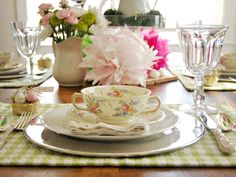 Easter Tip: Opt for color and a touch of pattern, like these lime green and white houndstooth placemats to keep fancy china from looking too fussy. http://www.hgtv.com/help-around-the-home-april/package/index.html?soc=pinterest