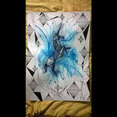 Unicórnio - A3 - R$300,00 Papel tela, nanquim, aquarela caneta para contorno. arte - art - tela