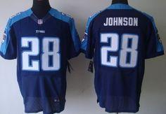 Nike Tennessee Titans #28 Chris Johnson Navy Blue Elite Jersey