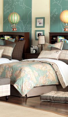 decor, guest room, bedding, idea, guest bedrooms, map, kid rooms, hot air balloons, boy room