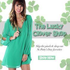 """The Lucky Clover Shop is NOW open online at www.sophieandtrey.com! Skip the pinch this St.Patty's day and start shopping St.Patrick's day looks now online at www.sophieandtrey.com and in stores! """"Femme Crochet Emerald Dress"""" ($34.99) now available online at www.sophieandtrey.com and in store at #sophieandtrey! #newarrivals #stpattysday #skipthepinch #luckyclovershop"""