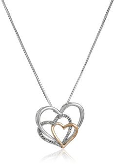 "Sterling Silver and 14k Rose Gold Diamond Accent Triple Heart Pendant Necklace,18"". Sterling silver high polished necklace featuring intertwined 14k rose gold heart with diamond accent pendant. Box chain with spring ring 18"". All our diamond suppliers confirm that they comply with the Kimberley Process to ensure that their diamonds are conflict free. Carat weight listed is the total for all stones. Imported."