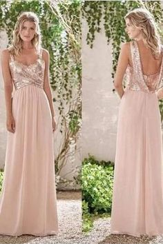 Rose Gold A-Line Spaghetti Straps Backless Sequins Chiffon Bridesmaid Dress New Rose Gold Bridesmaid Dresses A Line Spaghetti Straps Backless Wedding Party Dress Sequins Chiffon Maid of Honor Gowns Bridesmaid Dresses Uk, Gold Bridesmaids, Wedding Party Dresses, Prom Dresses, Blush Sequin Bridesmaid Dress, Evening Dresses, Formal Dresses, Robes D'occasion, Backless Wedding