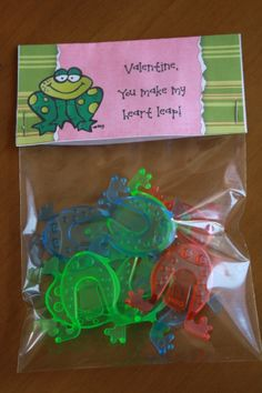 """I found these frog finger flickers at The Dollar Tree!  So cute!  Valentine, you make my heart leap! Bag Topper ~ 4x4"""" INSTANT DOWNLOAD ~ You Print $2"""