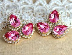 Statement earrings Pink Crystal big teardrops stud by iloniti, $78.00