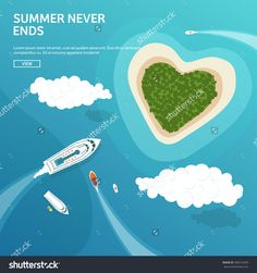 Vector Illustration. Tropical Island. Summer Holidays, Vacation. Sun, Ocean, Sea. Travel. Blue Lagoon. Oasis, Seascape. - 400310440 : Shutterstock