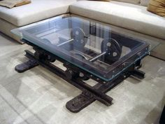 Vintage Industrial Decor This is just awesome. Reclaimed machinery turned into a coffee table! - Factory style at home! Enjoy this roundup with some amazing industrial home decor ideas :)