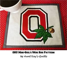 Ohio State OSU Mini-Quilt / Mug Rug Quilt by AuntKaysQuiltCo