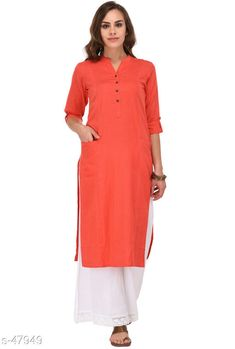 Kurtis & Kurtas Fashionable Cotton Long Kurti Fabric: Cotton Collar: Nehru Collar Sleeve: 3/4th Sleeves Are included Size: XS, S, M, L, XL, XXL, 3XL, 4XL (Refer Size Chart) Type: Stitched Description: It Has 1 Piece of Kurti Pattern: Solid Sizes Available: XS, S, M, L, XL, XXL, XXXL, 4XL   Catalog Rating: ★4.4 (240)  Catalog Name: Long Colorblock Kurtis CatalogID_5002 C74-SC1001 Code: 485-47949-