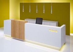 Office Reception Office Reception Desk Design via: 26 thousand images found . Dental Reception, School Reception, Modern Reception Desk, Reception Desk Design, Reception Counter, Reception Areas, Clinic Interior Design, Clinic Design, Bureau Design
