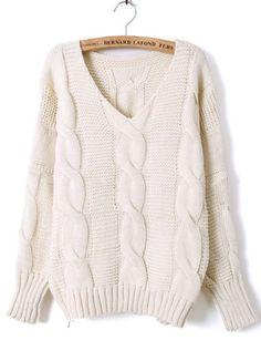 То, что нужно холодной осенью - свободный, мягкий и уютный. Носить с кожаными брюками или леггинсами. Beige Batwing Long Sleeve Diaper Loose Sweater