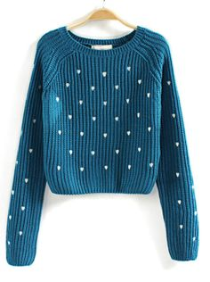 Blue Long Sleeve Hearts Embroidered Crop Sweater US$23.93