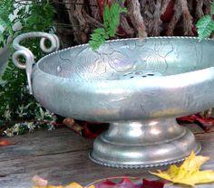Vintage Hammered Aluminum Nut Bowl Mid Century by SurrenderDorothy