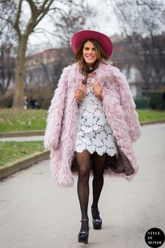pastel pink fur coat with white dress
