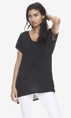ONE ELEVEN NEP KNIT DROP HEM TUNIC TEE - BLACK from EXPRESS