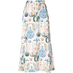 Temperley London Love Potion midi skirt ($995) ❤ liked on Polyvore featuring skirts, flared midi skirt, midi skater skirt, back zipper skirt, midi skirts and pink circle skirt