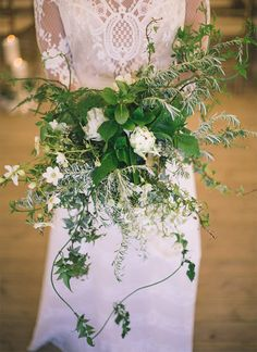 Greenery And White Flowers Bouquet For Forest Wedding