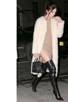in a Celine dress in New York City.   - HarpersBAZAAR.com