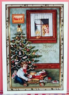 Christmas Presents Decoupage Card Front on Craftsuprint designed by Sandra Carlse - made by Cheryl French - Printed onto glossy photo paper. Attached base image to card stock using ds tape. Built up image with 1mm foam pads. - Now available for download!