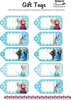 {free} printable Frozen Gift Tags