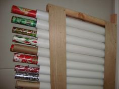 Use PVC pipes or mailing tubes to store and organize wrapping paper!