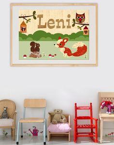 Drucke & Plakate - A3 süßer Fuchs, Eichhörnchen, Eule + Wunsch-Namen - ein Designerstück von VintagePaperGoods bei DaWanda