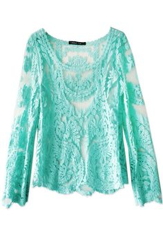 Crochet Lace Top in teal