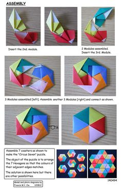 Photo diagrams for 6 Piece Hexagonal Coaster by Francis Ow. Origami Design, Diy Origami, Origami Quilt, Origami Envelope, Origami And Kirigami, Paper Crafts Origami, Oragami, Origami Instructions, Origami Tutorial
