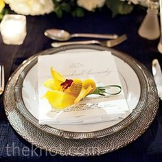 Silver and Yellow Place Setting