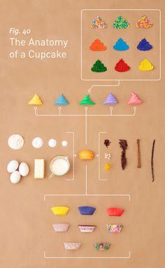 La anatomia de un panquecito:capacillos o papelitos de colores,ingredientes basicos,saborizantes,cubiertas varias y chochitos de colores de decoracion.