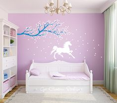 Unicorn Wall Decal Horse Decal Tree Branch Decal Frozen Wall Decal Magic Wall…