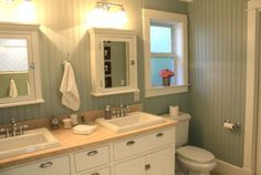 floor to ceiling beadboard, medcine cabinets, white trim, silver sage paint, love it all!
