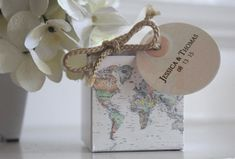 World Map Favor Box 1.00 ea. map design with by JanineLeaSwan