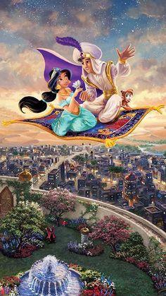 Best Ideas For Painting Disney Princess Thomas Kinkade – – Animation ideas Aladin Disney, Arte Disney, Thomas Kinkade Disney, Images Disney, Disney Pictures, Disney Cartoons, Disney And Dreamworks, Disney Pixar, Punk Disney