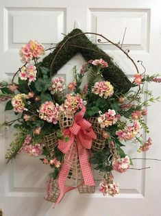 This Spring door wreath would be a great decoration to welcome your guest to your home. This wreath is full of pink geraniums, a mixture of pink filler and spring greenery. The arrangement is made on a square shape moss wire base and measures decorated around 26 x 27 in size. I Spring Door Wreaths, Summer Wreath, Wreaths For Front Door, Beach Wreaths, Wreath Crafts, Wreath Ideas, Square Wreath, Pink Geranium, Floral Wreath