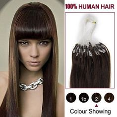 HairExtensionSale Micro Loop Human Hair Extensions 22 Inches Remy Hair Micro Ring/Link Dark Brown(#2..