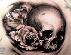 Beautiful Flower With Nice Realistic Skull Tattoo Design By Marielle ...