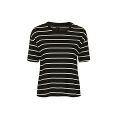 TopShop Stripe Tie Back T-Shirt ($22) ❤ liked on Polyvore featuring tops, t-shirts, monochrome, striped tee, tie t shirt, cotton tees, striped cotton tee and stripe top