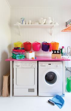 The laundry is the business end of your house, practical and very, very  serious... RIGHT?  Words & Styling Anya Brighouse     Photography Larnie Nicolson Appeared in Oct/Nov 2013  The laundry should be the equivalent of Harry Potter's Room of Requirement;  a place where you can magically find all sorts of practical things you  need. But often it is all too chaotic with you only ever being able to find  a great pile of odd socks, shoes that need to be de-mudded, togs that are  too small or a…