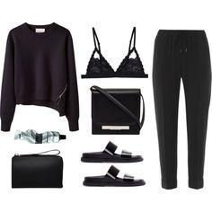Noir outfit // Polyvore