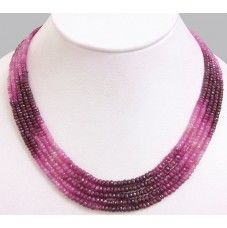 5 Row African Shaded Ruby necklace - 300 carats