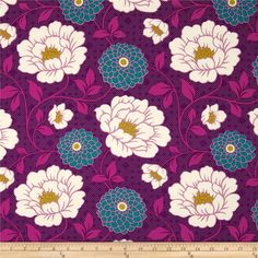 Joel Dewberry Bungalow Rayon Challis Dahlia Lavender from @fabricdotcom  Designed by Joel Dewberry for Free Spirit, this printed rayon challis fabric has a beautiful fluid drape and soft hand. It is perfect for creating shirts, blouses, gathered skirts and flowing dresses with a lining. Colors include pink, purple, teal, cream and magenta.