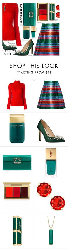 """""""#PolyPresents: Statement Shoes"""" by paperdollsq ❤ liked on Polyvore featuring Blumarine, Delpozo, Marc Jacobs, Nine West, Roger Vivier, Yves Saint Laurent, MAC Cosmetics, Balmain, By Terry and Ila"""