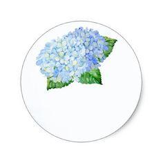 Blue Hydrangea Wedding Favor Stickers - blue gifts style giftidea diy cyo
