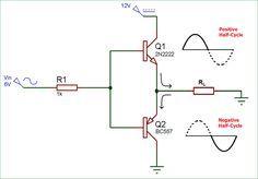 Push-Pull Amplifier | Circuit in 2019 | Circuit diagram