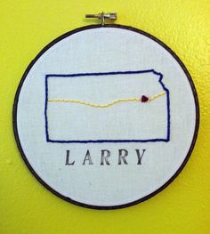 Lawrence Kansas Map Embroidery